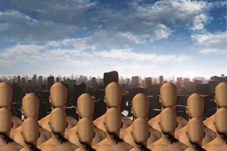 masses: Faceless masses before ruins