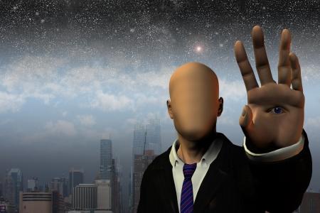 Homme surréaliste devant la ville et les étoiles