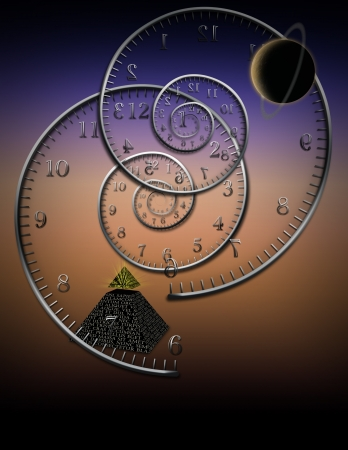 cover background time: Spiral clocks and space time Stock Photo