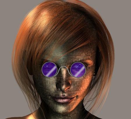 visage femme profil: Androïde femelle Banque d'images