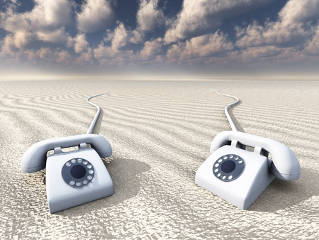 receiver: Old Rotary Phones in Barren Landscape Stock Photo