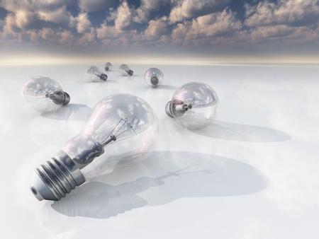 Incandesent bulbs in white landscape