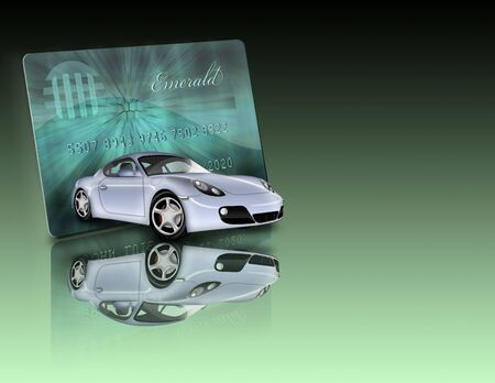 Credit Card and car with reflections Not an actual credit card and car not a photograph