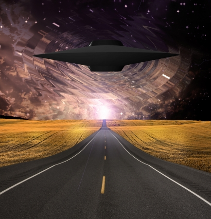 street lamp: UFO Emerges over Road