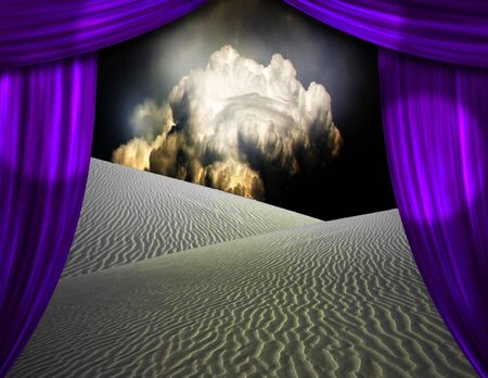 limelight: Desert sands seen through opening in curtains
