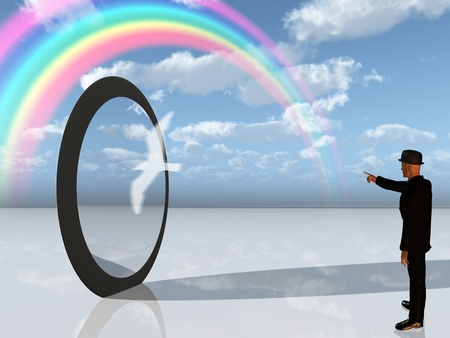 open hole: Man in black points toward rainbow in surreal landscape Stock Photo
