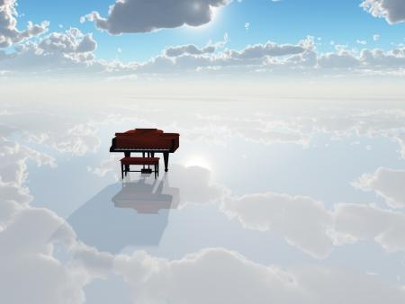 硬直した白い風景の中のピアノ