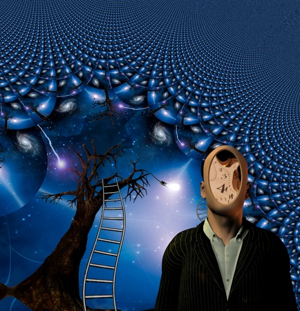 hallucination: Human face is clockworks with tree of ideas beyond Stock Photo