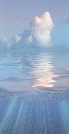 lightness: Serene water and clouds