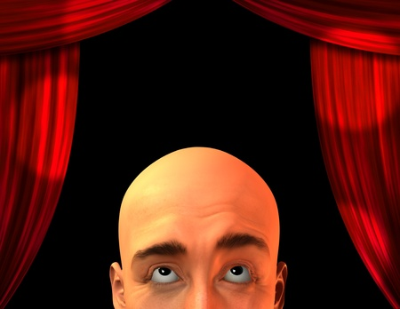 Stage with close up mans head Stock Photo