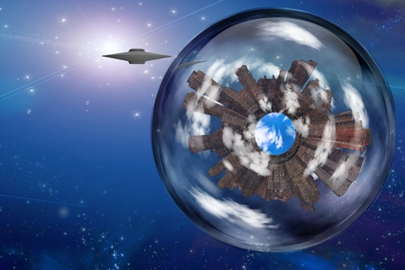 Saucer craft near large interstellar city ship photo