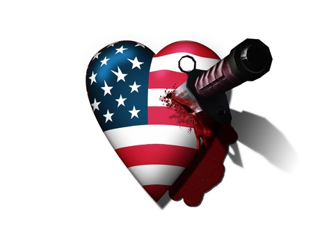 USA Heart Stabbed by Knife photo