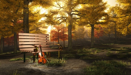 gold string: Violin in autumnal park