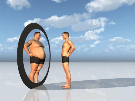 hombre flaco: Hombre ve a otro yo en espejo