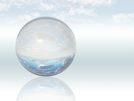 blue sphere: Surreal Landscape with crystal sphere Stock Photo