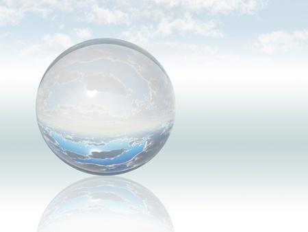 Surreal Landschap met kristallen bol Stockfoto