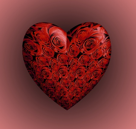 3D Red Roses Heart Stock Photo - 11016532