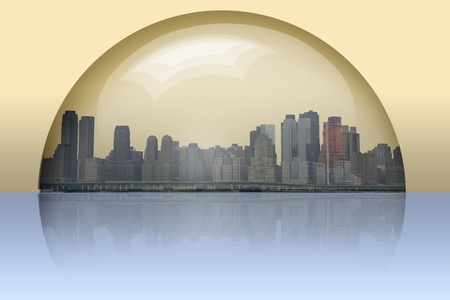 City Enclosed in glass sphere photo