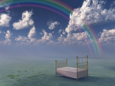 Bed in surreal peaceful landscape photo