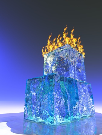stock photo: Fire and Ice