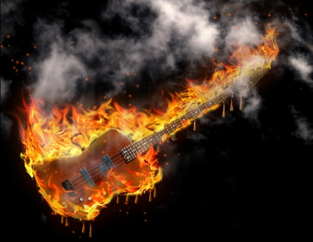 Burning smoking melting guitar in black space photo