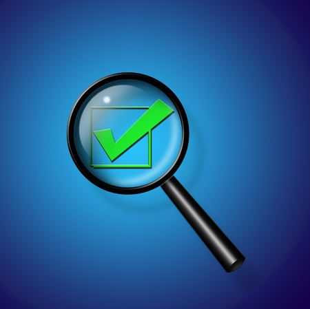 Check Mark under magnify glass Stock Photo - 11146913