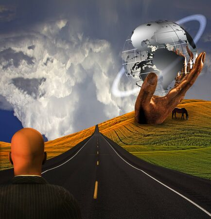 Road and hand sculpture photo