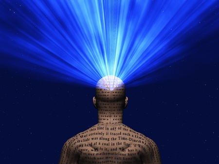 manuscript: Man covered in text with light radiating from mind