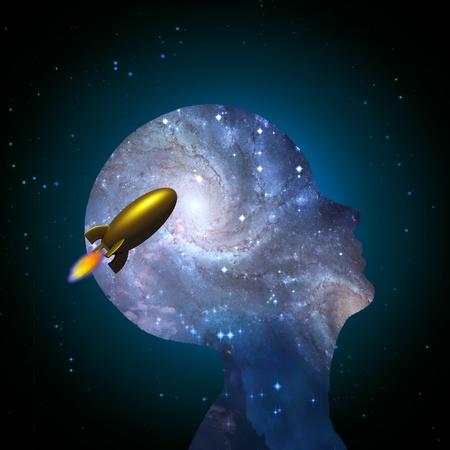 Mind and rocket Reklamní fotografie