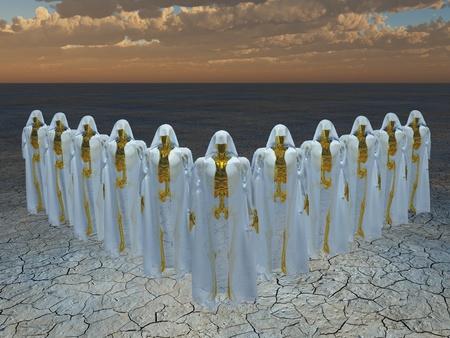 Groep van andriods in gewaden