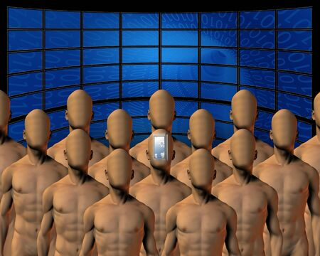 Group before screens one open mind Stock Photo - 11397814