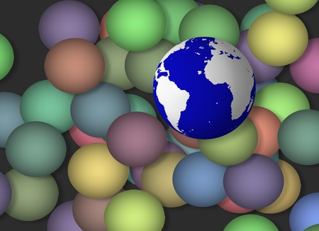 Earth amongst colored spheres Stock Photo