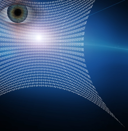 scanning: Eye and web composed of binary code Stock Photo