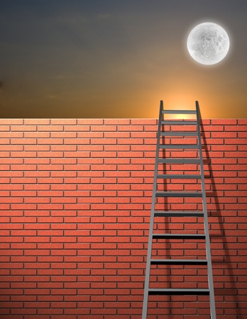 overcome a challenge: Ladder leans on wall with sky Stock Photo