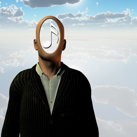 Faceless man with music note Stock Photo