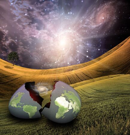 spiritual growth: Earth egg is hatched Stock Photo