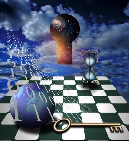 tablero de ajedrez: Apertura en escena surrealista