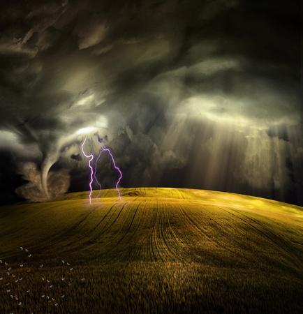tornado: Tornado in stormy landscape