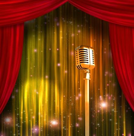 Classic Microfoon met kleurrijke gordijnen Stockfoto