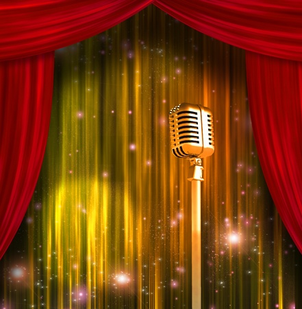 show: Classic Microphone with Colorful Curtains Stock Photo
