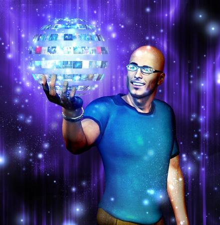 holographic: Guarda l'uomo in ambito video che sta tenendo