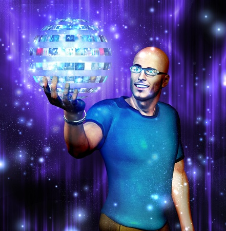 holographic: Man gazes into video sphere he is holding