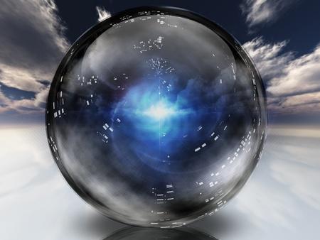 Mysterieuze energie in kristallen bol Stockfoto
