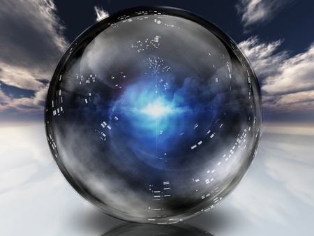 crystals: Mysterious energy contained within crystal sphere Stock Photo