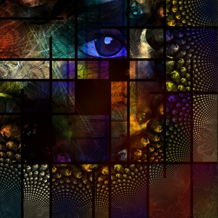 mondrian: Abstract Image with text and human eye