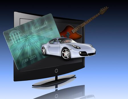 Credit card, car, flat panel and guitar all items are not actual items but are illustrated
