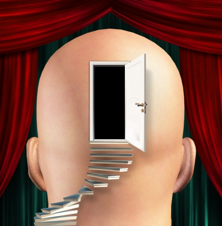 psychologist: Stairs lead up to Door to  mind