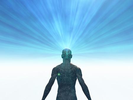 mente humana: El hombre cubierto de texto con la luz que irradia de la mente