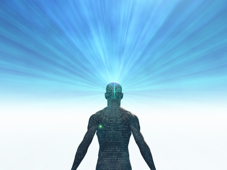 brain and thinking: Man covered in text with light radiating from mind