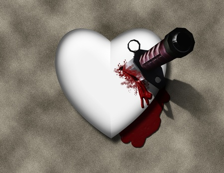 heart pain: bleeding heart with bloody knife Stock Photo